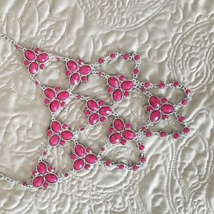 Statement Necklace in Pink and Silver
